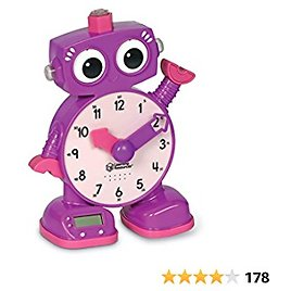 Learning Resources Tock The Learning Clock, Amazon Exclusive, Educational Talking Clock, Ages 3+, Purples.