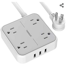 Power Strip with USB Ports, TESSAN Mountable Flat Plug Extension Cord with 4 Widely Spaced Outlets, 3 USB Charger 5 FT .