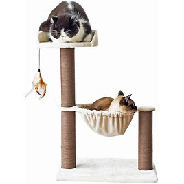 Catry Cat Tree with Feather Toy - Cozy Design of Cat Hammock Allure Kitten to Lounge In, Cats Love to Lazily Recline While Playi