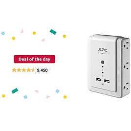 Deal of The Day: APC Wall Outlet Plug Extender, Surge Protector with USB Ports, P6WU2, (6) AC Multi Plug Outlet, 1080 Joule Surge Protection White