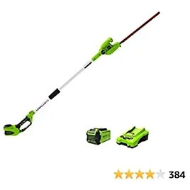 Greenworks PH40B210 40V 20 Inch Cordless Pole Hedge Trimmer with 2.0 AH Battery