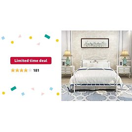 Metal Platform Bed Frame with Headboard, Mattress Foundation, Box Spring Replacement