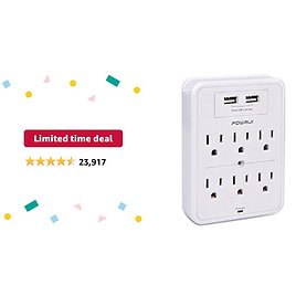Limited-time Deal: POWRUI Surge Protector, USB Wall Charger with 2 USB Charging Ports(Smart 2.4A Total), 6-Outlet Extender and Top Phone Holder for Your Cell Phone, White, ETL Listed