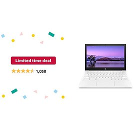 Limited-time Deal: HP Chromebook 11-inch Laptop - Up to 15 Hour Battery Life - MediaTek - MT8183 - 4 GB RAM - 32 GB EMMC Storage - 11.6-inch HD Display - with Chrome OS - (11a-na0021nr, 2020 Model, Snow White)