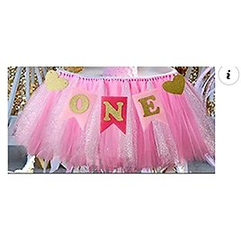 1st Birthday Girl Baby Tutu for High Chair Decoration from Amazon.