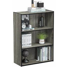 Furinno Pasir 3-Tier Open Shelf Bookcase, French Oak Grey from Amazon.