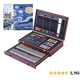 145 Piece Art Set with 2 X 50 Page Drawing Pad, Art Supplies in Portable Wooden Case, Crayons, Oil Pastels, Colored Pencils, Watercolor Cakes, Sharpener, Sandpaper