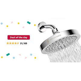 Deal of The Day: SparkPod Shower Head - High Pressure Rain - Luxury Modern Chrome Look - Easy Tool Free Installation - The Perfect Adjustable Replacement For Your Bathroom Shower Heads