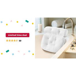 Limited-time Deal: Bath Pillow, Ergonomic Bathtub Cushion for Neck, Shoulder, Head and Back Support, 4D Air Mesh Spa Pillow with 7 Non-slip Suction Cups, Ultra Soft and Quick Dry Bathtub Pillow for Home Spa