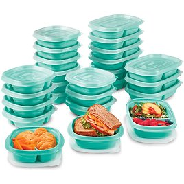 Rubbermaid TakeAlongs On The Go Food Storage and Meal Prep Containers, Set of 25 (50 Pieces), Teal