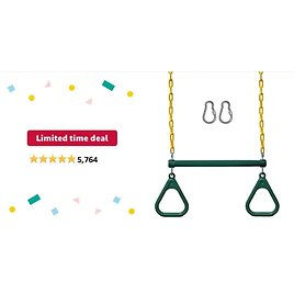 """Get Jungle Gym Kingdom 18"""" Trapeze Swing Set Accessories & Locking Carabiners (Green) from Amazon.com"""