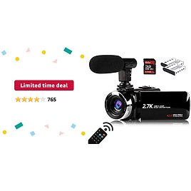Limited-time Deal: Video Camera Camcorder with Microphone, Vmotal 2.7K HD 42.0 MP 18X Digital Zoom 1080P IR Night Vision Vlogging YouTube Webcam Recorder, 3.0 Inch Screen with 2 Batteries Inculde 32GB SD Card