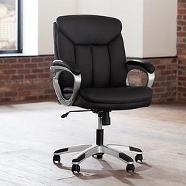 OFM Essentials Black Leather Lumbar Office Chair