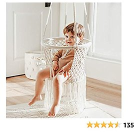 FUNNY SUPPLY Indoor Hanging Swing Seat,White Weave Infant Hanging Chair, Hammock Chair for Infant to Toddler,Children's Indoor Playroom Nursery Decor