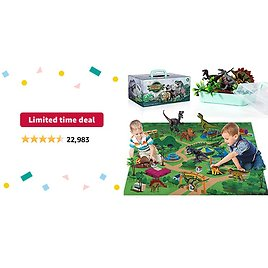 Limited-time Deal: TEMI Dinosaur Toy Figure w/ Activity Play Mat & Trees, Educational Realistic Dinosaur Playset to Create a Dino World Including T-Rex, Triceratops, Velociraptor, Perfect Gifts for Kids, Boys & Girls