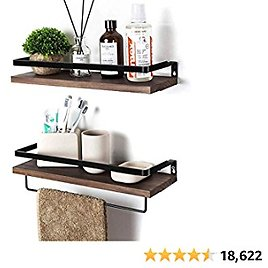SODUKU Floating Shelves Wall Mounted Storage Shelves for Kitchen, Bathroom,Set of 2 Brown from Amazon.