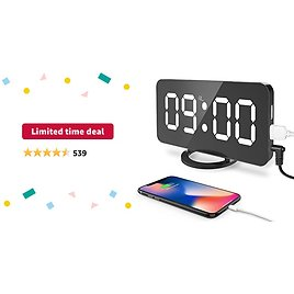 """Limited-time Deal: Digital Alarm Clock, Large 6.5"""" LED Easy-Read Night Light Dimmer Display Clock with Dual USB Charger Port, Snooze Function Adjustable Brightness for Bedroom Living Room Decor"""