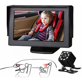 Car Seat Mirror Camera & Monitor with Infrared Night Vision