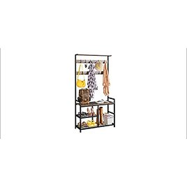 ODK 3-in-1 Hall Tree Coat Rack and Shoe Bench Entryway Storage Shelves (Rustic Brown) from Amazon.com