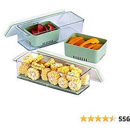 Lille Home Stackable Produce Saver, Organizer Bins/Storage Containers with Removable Drain Tray, Set of 2, for Refrigerators, Cabinets, Countertops and Pantry, BPA Free (Green, Set of 2)