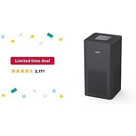 Limited-time Deal: TOPPIN HEPA Air Purifiers for Home Large Room Up to 215ft²- TPAP001 Ultra-Silent Bedroom Air Cleaner with Brushless Motor H13 HEPA Filter for 99.97% Pollen, Allergies, Pets Hair, Dander, Dust, Black