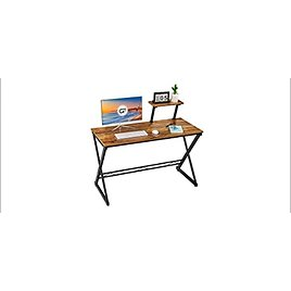 GreenForest 35 Inch Office Computer Table with Storage Shelf (Walnut) from Amazon.com