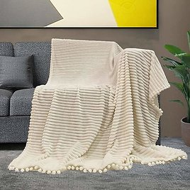 Throw Blanket with Pom Pom Fringe and Super Soft Stripe Pattern Lightweight Cozy Fleece Blanket Perfect for Bed Couch Sofa