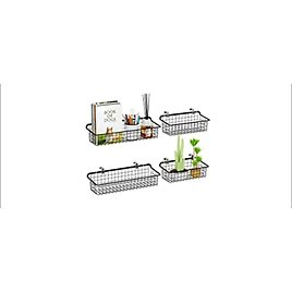4-Pack Packism Metal Wall Mounted Wire Baskets (Black) from Amazon.com