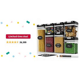 Limited-time Deal: Airtight Food Storage Containers Set - 7 PC - Pantry Organization and Storage 100% Airtight, BPA Free Clear Plastic, Kitchen Canisters for Flour, Sugar and Cereal, Labels & Marker (Black)