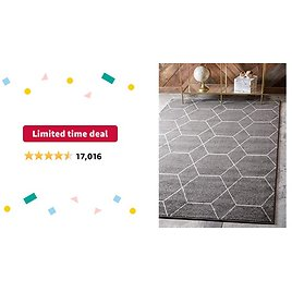 Limited-time Deal: Unique Loom Trellis Frieze Collection Lattice Moroccan Geometric Modern Area Rug, 4 X 6 Feet, Dark Gray/Ivory
