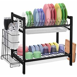 Dish Drying Rack with Drainboard - 2 Tier Dish Rack for Kitchen Counter Stainless Steel Dish Drainer from Amazon.
