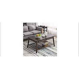 """Nnewvante 45"""" Bamboo Center Table with Open Storage Shelf for Living Room Furniture from Amazon.com"""