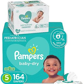 44% Off! Pampers Diapers Size 5, 164 Count & Baby Wipes One Month Supply
