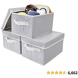 GRANNY SAYS Storage Bins with Lids, Nursery Storage Boxes, Closet Organizers and Storage Containers, Medium, Gray/Beige, 3-Pack