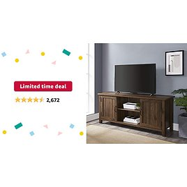 Limited-time Deal: Walker Edison Buren Classic Grooved Door TV Stand for TVs Up to 65 Inches, 58 Inch, Walnut