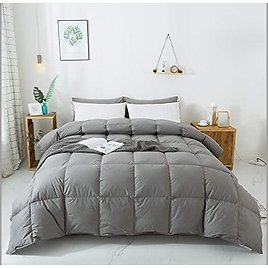 WhatsBedding 100% Cotton Down Comforter Goose Duck Down and Feather Filling