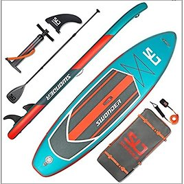 Swonder Inflatable Stand Up Paddle Board with Adjustable Paddle, Backpack, Leash, and Pump for Youth & Adult from Amazon.com