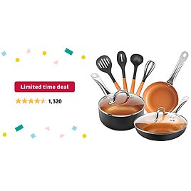 Limited-time Deal: SHINEURI 9 Pieces Copper Nonstick Pans Pots Ceramic Cookware Set - 8 & 9.5 Inch Stir Fry Pan with Lid, and 2.5 Qt Saucepan with Lid & 4 Pieces Utensils for Induction, Gas, Electric & Stovetops (Black)