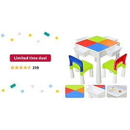 Limited-time Deal: 67i Kids Activity Table and 2 Chairs Set 3-in-1 Compatible Multi Activity Table Set for Kids Use As A Building Block Table Water Table Craft Table Without Building Blocks (Red/Green/Blue/Orange)