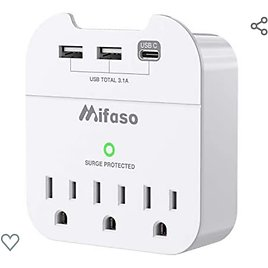 Surge Protector, USB Wall Charger, Multi Plug Outlets Extender with 3 USB Charging Ports