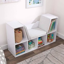 KidKraft Wooden Bookcase with Reading Nook, Storage and Gray Cushion, White ,Gift for Ages 3-8