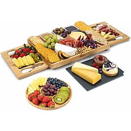 SMIRLY Cheese Board and Knife Set: Large Charcuterie Board Set, Cheese Platter Board, Bamboo Cheese Board