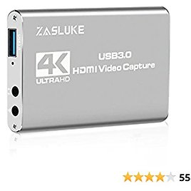 ZasLuke Game Capture Card, USB 3.0 4K Audio Video Capture Card with HDMI Loop-Out 1080P 60FPS Live Streaming HDMI Capture for PS4, Nintendo Switch, Xbox One&Xbox 360 and More (Silver)