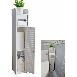 Small Bathroom Storage Corner Floor Cabinet with Doors and Shelves,Thin Toilet Vanity Cabinet from Amazon.
