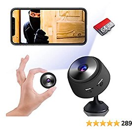 Mini Spy Camera Hidden WiFi Wireless Small Video Camera Full HD 1080P Nanny Cam Night Vision Secret Surveillance Cameras, Compact Indoor/Outdoor Video Recorder with Audio (with 64G SD Card)