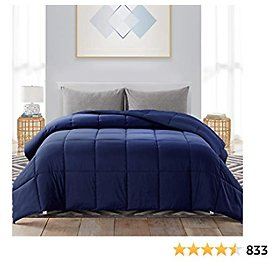 WhatsBedding California King Down Alternative Quilted Comforter - All Season Navy Blue Lightweight Duvet Insert or Stand-Alone Comforter with Corner Tabs - 104×96 Inch