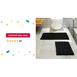 Thickened Striped Shaggy Bath Rugs for Bathroom Non Slip Set of 2 Bathroom Rugs from Amazon.