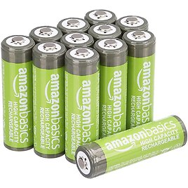 Amazon Basics 12-Pack AA High-Capacity 2,400 MAh Rechargeable Batteries, Pre-Charged for $18.69