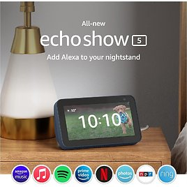 All-new Echo Show 5 (2nd Gen, 2021 Release) | Smart Display with Alexa and 2 MP Camera | Deep Sea Blue for $54.99