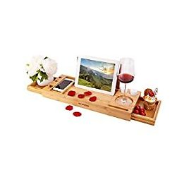 Haipusen Expandable Wood Bath Tray for Tub with Book Tablet Stand Wine Glass Soap Holder Gifts (Natural) from Amazon.com